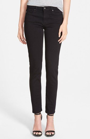 AG 'Prima' Mid Rise Cigarette Jeans (Super Black) available at #Nordstrom
