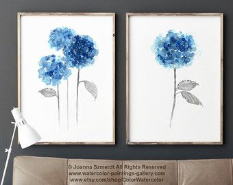 Abstracte Navy bloem aquarel Art Print cadeau idee. Moderne bloemen schilderijen minimalistische bloem blauwe muur Decor. Blauwe bloemen huis tuin. Mannen vrouwen Art Print. Botanische illustratie.  Het soort papier: Afdrukken tot (42 x 29, 7cm) 11 x 16 inch formaat worden afgedrukt op archivering Acid gratis 270g/m2 aquarel Fine Art Witboek en behoudt het uiterlijk van het originele schilderij. Grotere afdrukken worden afgedrukt op 200g/m2 semi-Glossy Poster Witboek.  Kleuren: Arch...