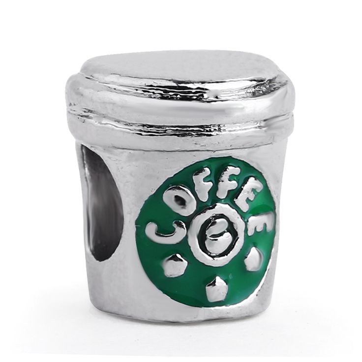 Free shipping 1PC Silver Plated Coffee Cup Fashion Metal Charms Fits Pandora Style Charm Bracelets