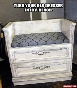 turn an old dresser into a bench - would be awesome by the front door! Storage for hats, mitts etc underneath, seating on top!