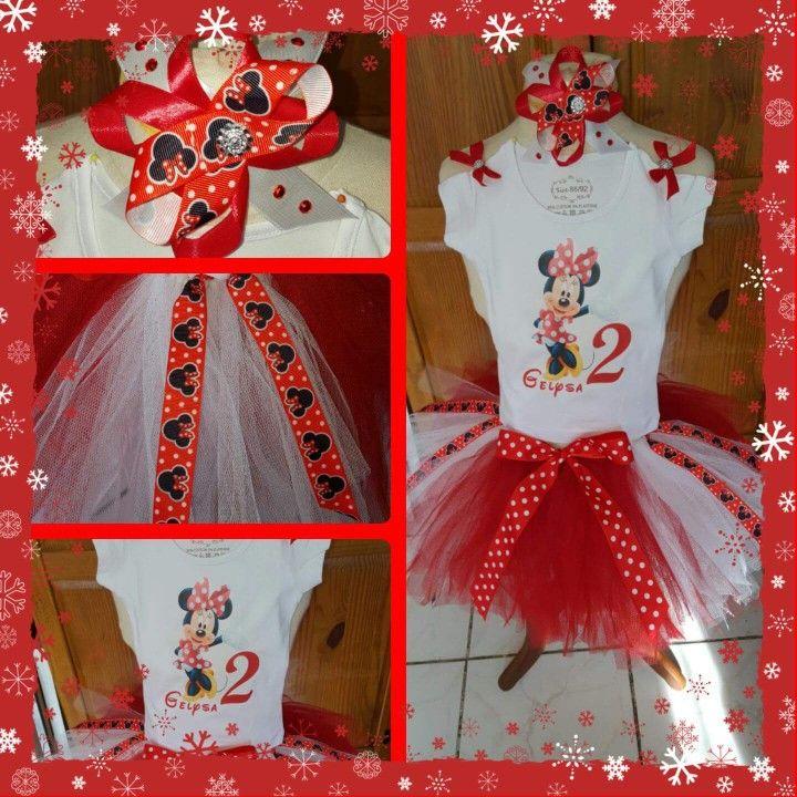 Minnie mouse 2nd birthday tutu dress/outfit. Verjaardag tutu setje van tule.