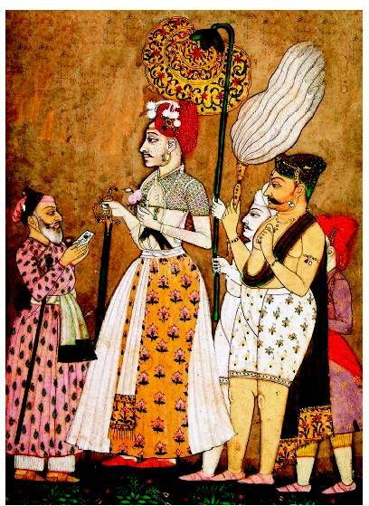 Maratha Peshwa with his Courtiers,detail from a Dakhani Miniature Painting,18th c.