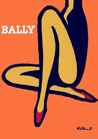 Vintage Bally poster very simple and flat design. woman's head is cropped to make the focus on her long and beautiful legs. Very bold outline of her legs to create the impression that she is a strong woman