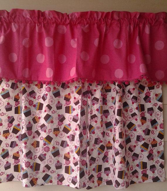 Cupcake Curtains With Pink Polka Dot Valance
