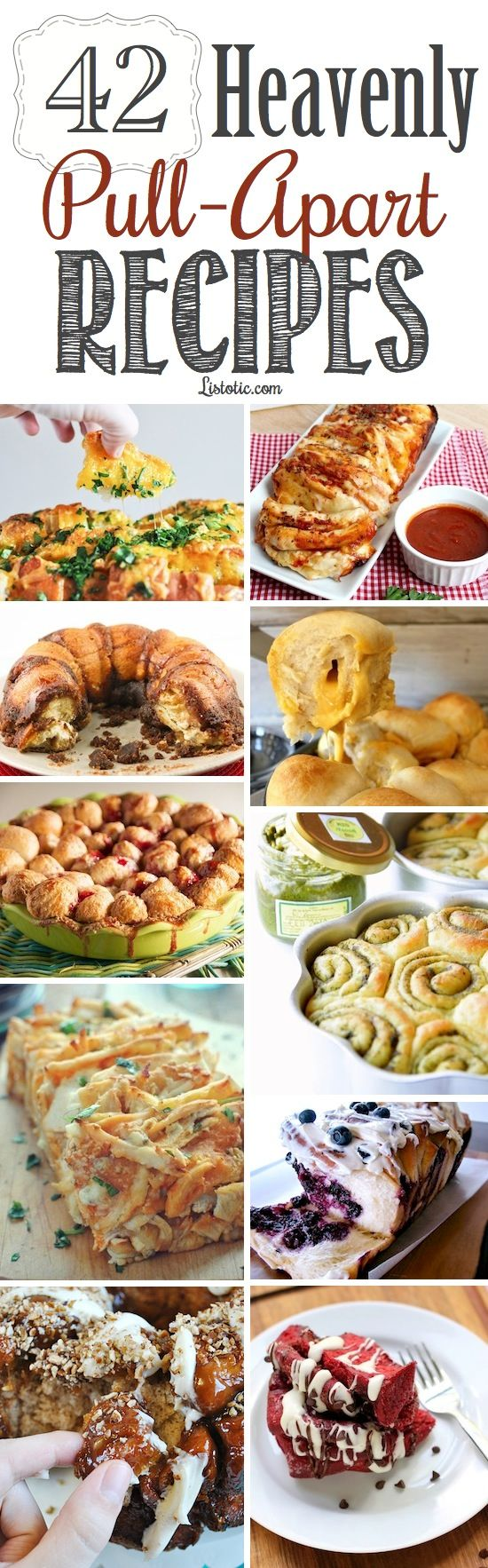 42 of the best pull-apart recipes!! http://www.listotic.com/42-mouthwatering-pull-apart-recipes/ recipes location is under each picture