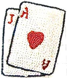 """Ace jack of hearts white and red sequins and beads 4"""" x 3"""" jj803b"""