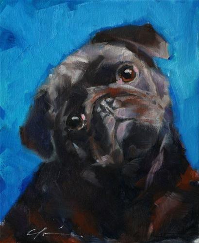 """Black Pug Commission for Pug Wine"" - Original Fine Art for Sale - © Clair Hartmann"