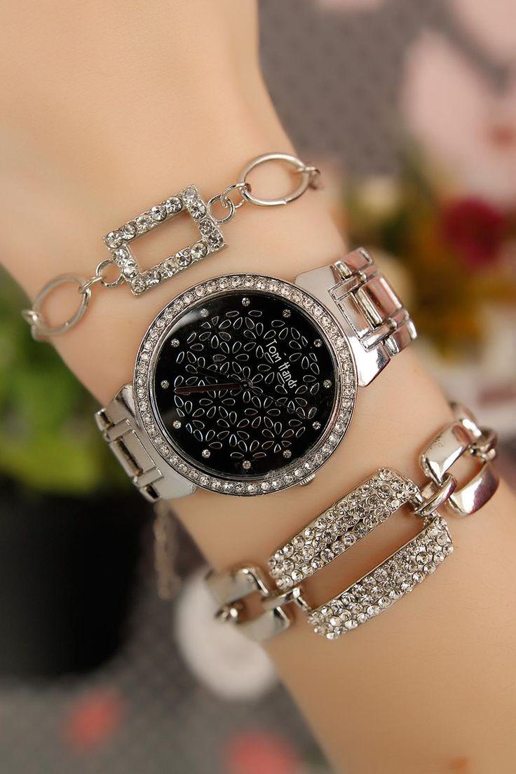 Silver Kasa Siyah İç Tasarımlı Bayan Saat ve Bileklik Kombini res1