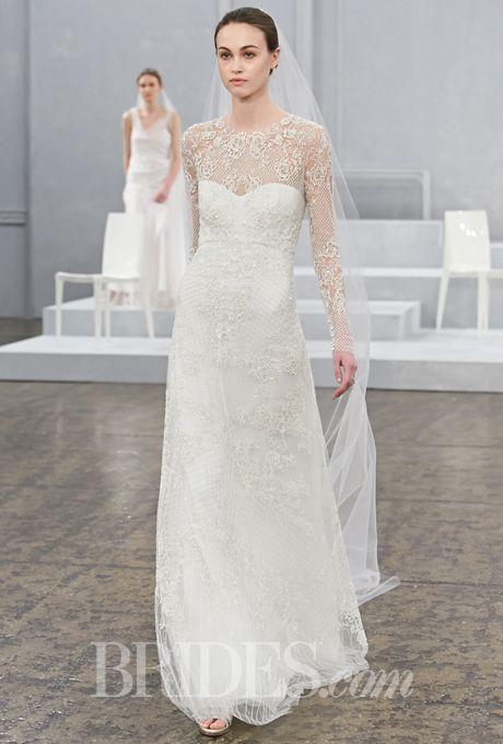"Brides: Monique Lhuillier - Spring 2015. ""Sarah"" long sleeve floral lattice A-line wedding dress with an illusion high neckline and sweetheart bodice, Monique Lhuillier"