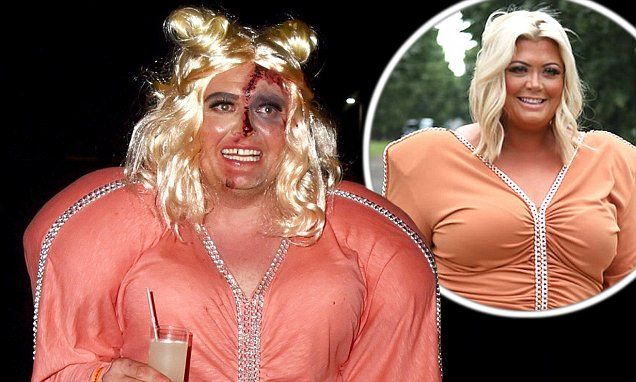 Alan Carr took inspiration from Gemma Collins' famous fashion fail as he transformed into a zombie version of the flamboyant reality star at Jonathan Ross' annual Halloween party on Tuesday.