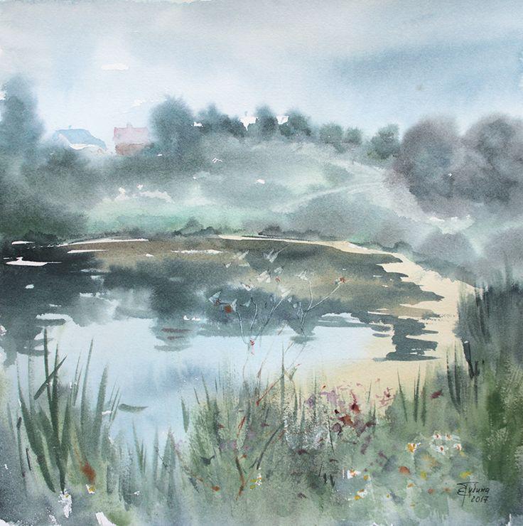 «Заросший пруд» живопись акварелью Екатерины Губиной