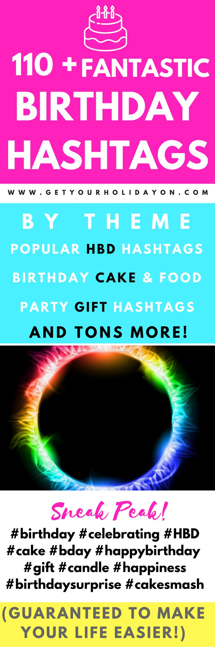 The ultimate guide to birthday hashtags! This is really easy to follow guide from Get Your Holiday On helped me to gain more followers on my birthday. There are a ton of birthday themed hashtags that are perfect for hashtagging your birthday cake, birthday breakfast, birthday party, and a whole lot more! #bloggers #happybirthday #diy #food