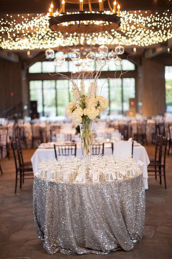 This Is A Silver SEQUIN TABLECLOTH.. We Our The Original Sequin Tablecloth  Creators!