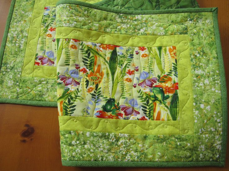 Spring Quilted Table Runner with Frogs by patchworkmountain.com