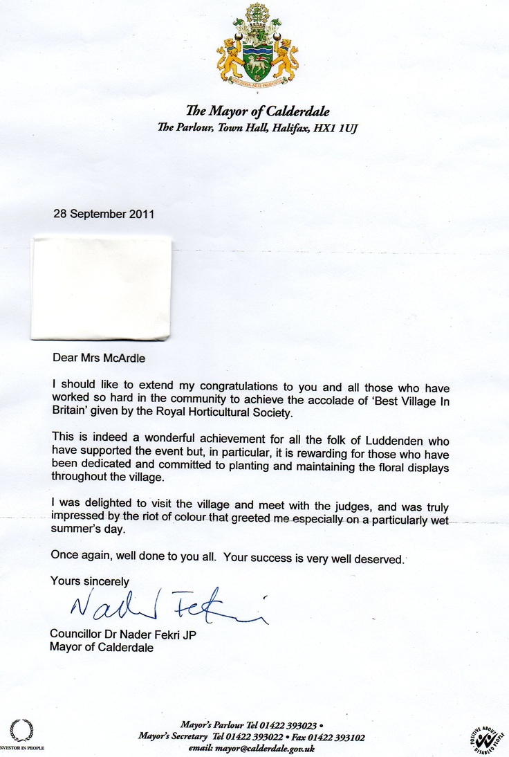 Letter Of Congratulations From Mayor Of Calderdale  Information