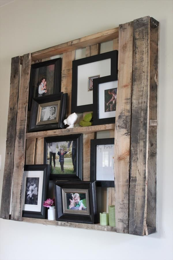 DIY Pallet Wall Shelves - Picture Frame Display Rack | 99 Pallets