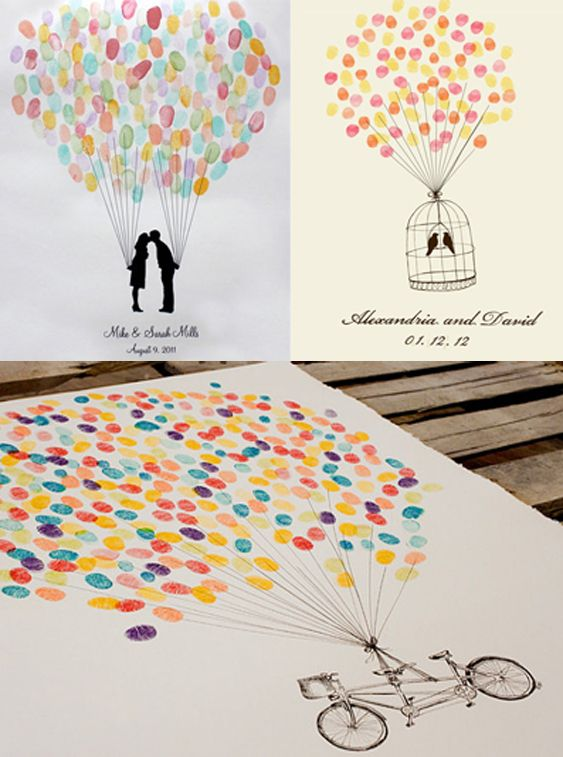 Thumb-print picture - ask all your guests to make their mark on a special picture at the end of your ceremony. This one is of a couple holding balloons.