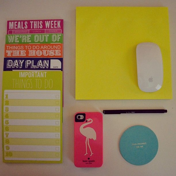 Colorful office supplies make me a happy worker.