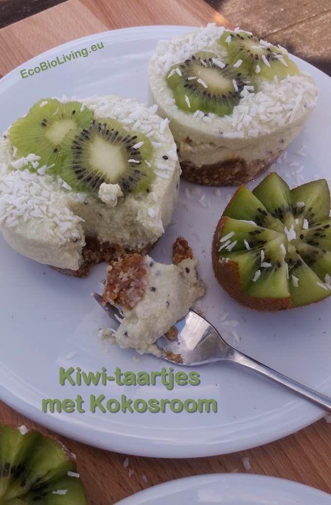 Kiwi-taartjes met kokosroom - glutenvrij, zonder suiker of zuivel