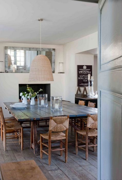 Large farmhouse style table - lOVE farmhouse tables - and you can pair them with very modern or mismatched chairs to update it and make it more eclectic and less country