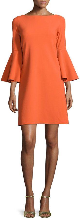 La Petite Robe di Chiara Boni Natalia Bell-Sleeve A-line Cocktail Dress