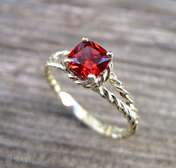 Ruby Engagement Ring Cushion Ruby Braided Rope by Benati on Etsy