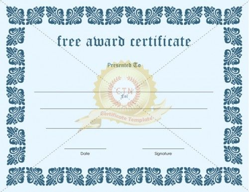 Present a free award certificate after downloading. This free award certificate comes in a blue border and light blue background. We have a free and a premium version of the award for download.