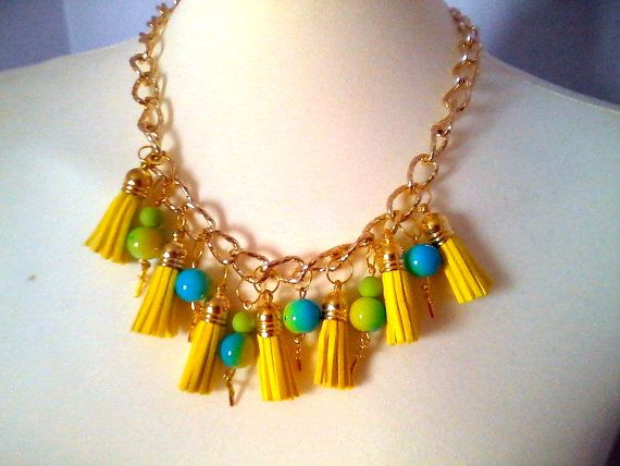 Fabulous Necklace with yellow tassels by KaterinakiJewelry on Etsy