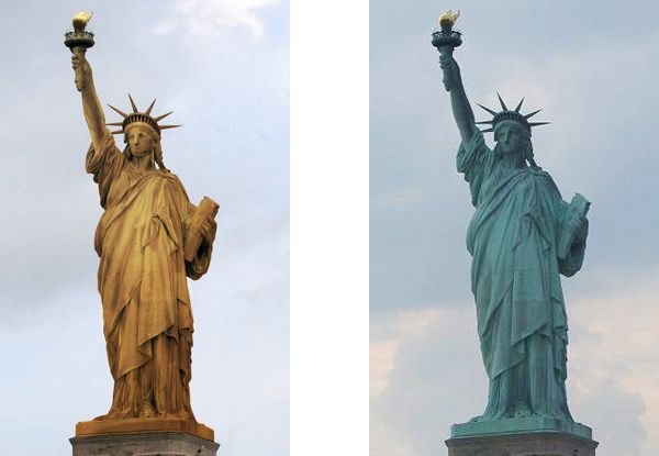 Statue of liberty before it was green. Fun fact: the Statue of liberty was meant for Egypt