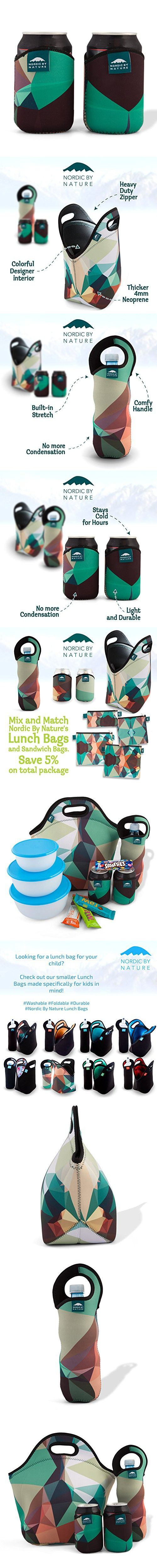 """Nordic by Nature Extra Big Insulated Large Neoprene Lunch Bag Set: Tote + Bottle Cooler + 2 Can Insulators 