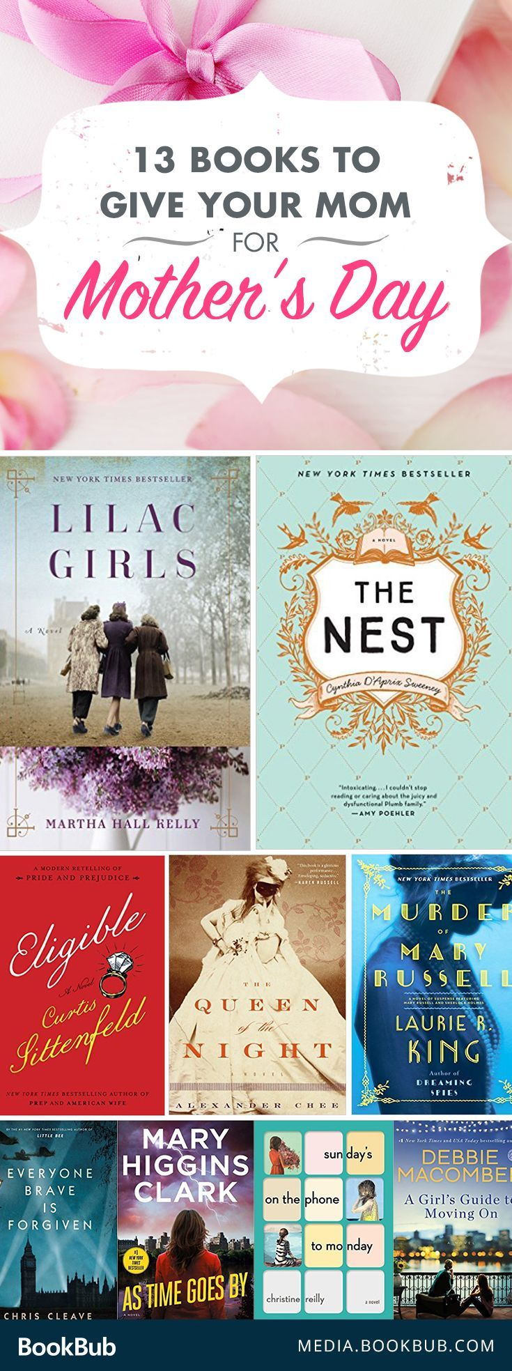 Looking for a Mother's Day gift idea? Check out these 13 books your mom is sure to love. From historical fiction novels to mysteries to thrillers, this reading list has it all!