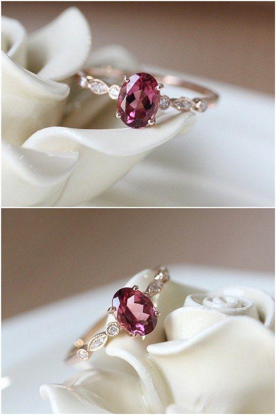 Oval Cut Pink Tourmaline Engagement Ring / www.deerpearlflow…