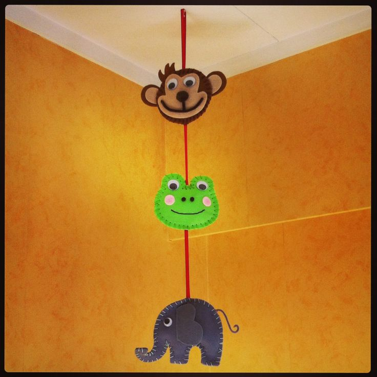 Animal mobile for toddlers bedroom, handmade
