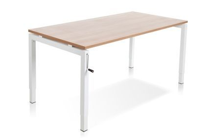 Bureau: lichte houtkleur met wit obderstwl. Wel verstelbaar