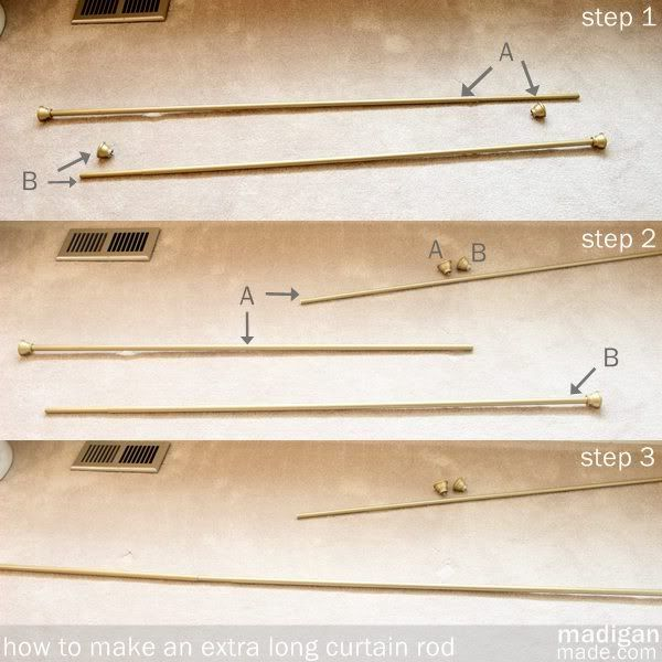 How to Create an Extra Long Curtain Rod ~ Madigan Made { simple DIY ideas }