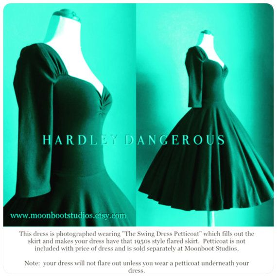 Achieve Pin Up perfection with The Forest Green color Cheri dress 38 length, handmade by HARDLEY DANGEROUS COUTURE. This retro high waist swing dress is available in your choice of style, neckline, sleeve or color! Misses Sizes XXS-4XL available in PETITE, MISSES or TALL lengths available by custom order! Additional fees apply. HANDMADE POLICY: This is a handmade dress that will require 30 days minimum time to complete, depending on my studios workload, it may take me longer to complete your…