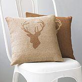 Hessian Stag's Head Cushion Cover - christmas