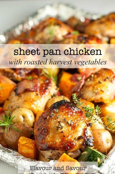 This Sheet Pan Chicken and Roasted Harvest Vegetables is flavoured with bacon and rosemary. Crispy chicken and roasted vegetables make a complete meal, made in one pan, baked in just 30 minutes. #sheetpan #chicken #roastedvegetables #onepan #sweetpotatoes #carrots #zucchini #carrots #harvest