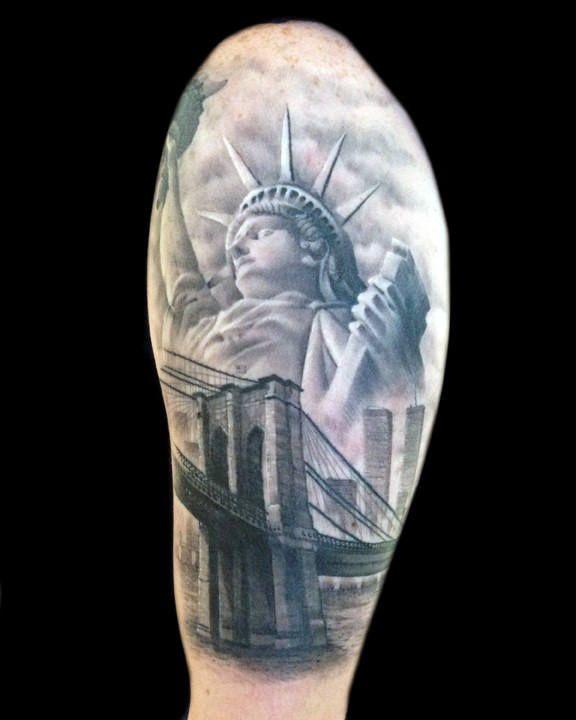 60 Brooklyn Bridge Tattoos For Men New York City Design Ideas Half Sleeve Tattoos Drawings Half Sleeve Tattoo Sleeve Tattoos