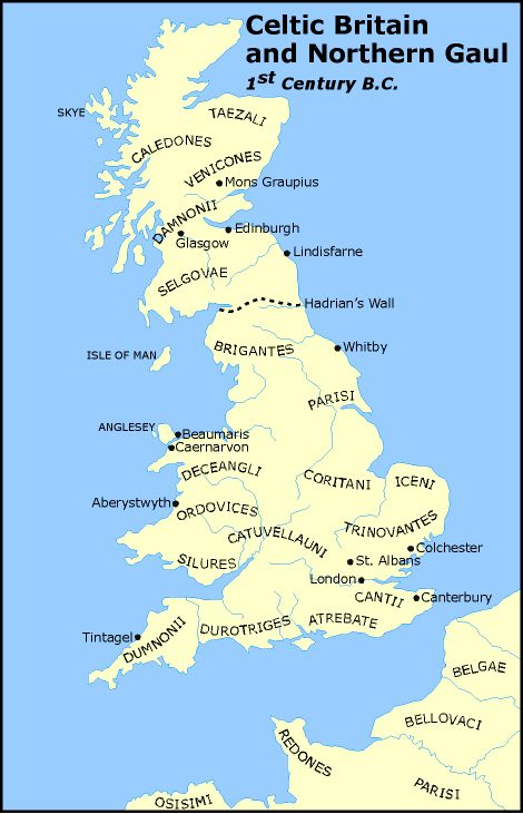 MAP OF CELTIC TRIBES IN BRITAIN