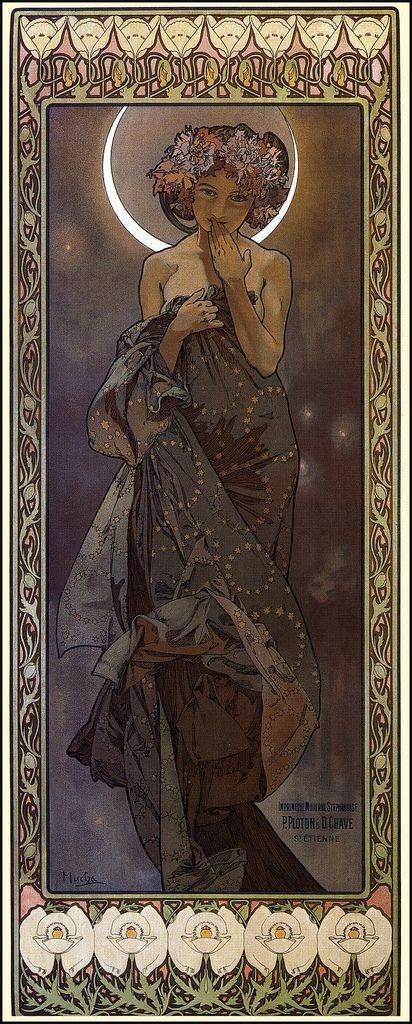 """Alphonse Mucha """"The Moon"""""""