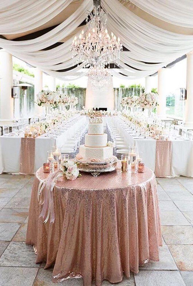 42 Glamorous Rose Gold Wedding Decor Ideas Wedding Forward Rose Gold Wedding Decor Gold Wedding Decorations Rose Gold Sequin Tablecloth