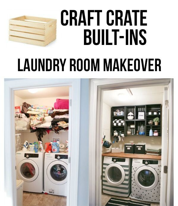 Easy and Inexpensive Laundry Room Makeover Using Craft Crates. Finally...a project that even I can undertake! DIY by East Coast Creative for The Home Depot. Love the electrical tape on the washer and dryer. Detailed how to instructions.