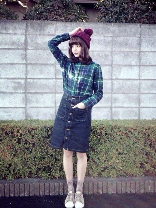 UNIQLOのシャツ・ブラウスを使った村田倫子さんのコーディネートです。│チェックシャツとニット帽ほっこり...