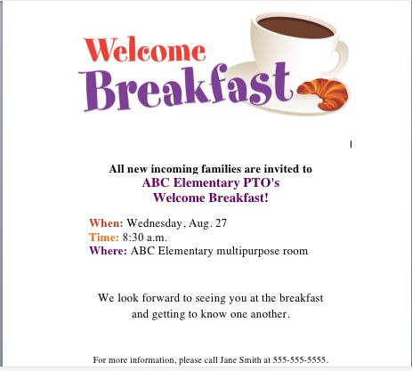 Get our Welcome Breakfast flyer on the PTO Today File ...
