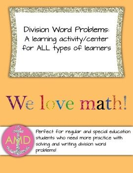 This learning center is designed to help math students understand the primary ideas behind basic division and teach students to use language to create division story problems.Common Core Standards:3.OA.2 (Interpret whole number quotients as objects)3..OA3 (Use multiplication/division to solve word problems to 100)Learning Objectives:SWBAT understand the idea that division is a fair share.SWBAT read and understand division word problems.SWBAT write division word problems.Lesson Plan and…