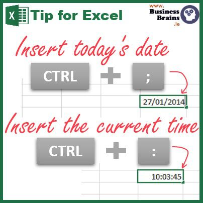 "If you have to frequently enter the current date and time into your spreadsheet e.g. in a log or diary entry, there's a quick way to do it without having to type the date, time or even looking at your calendar as shown in today's tip. While I have been using this for many years, only recently and by accident did I discover that I could use this shortcut to insert the date/time anywhere inside some other text; e.g. in a cell start typing ""This report was updated on "" and pressed [CTRL] + [;]. Handy, eh? You may already use =Today() and =Now() to always display the current date and time in a workbook. These however will refresh every day/time the workbook is saved. Go on, try it."