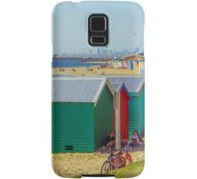 The Long View of the Brighton Bath Huts - Brighton, Victoria Samsung Galaxy Case/Skin