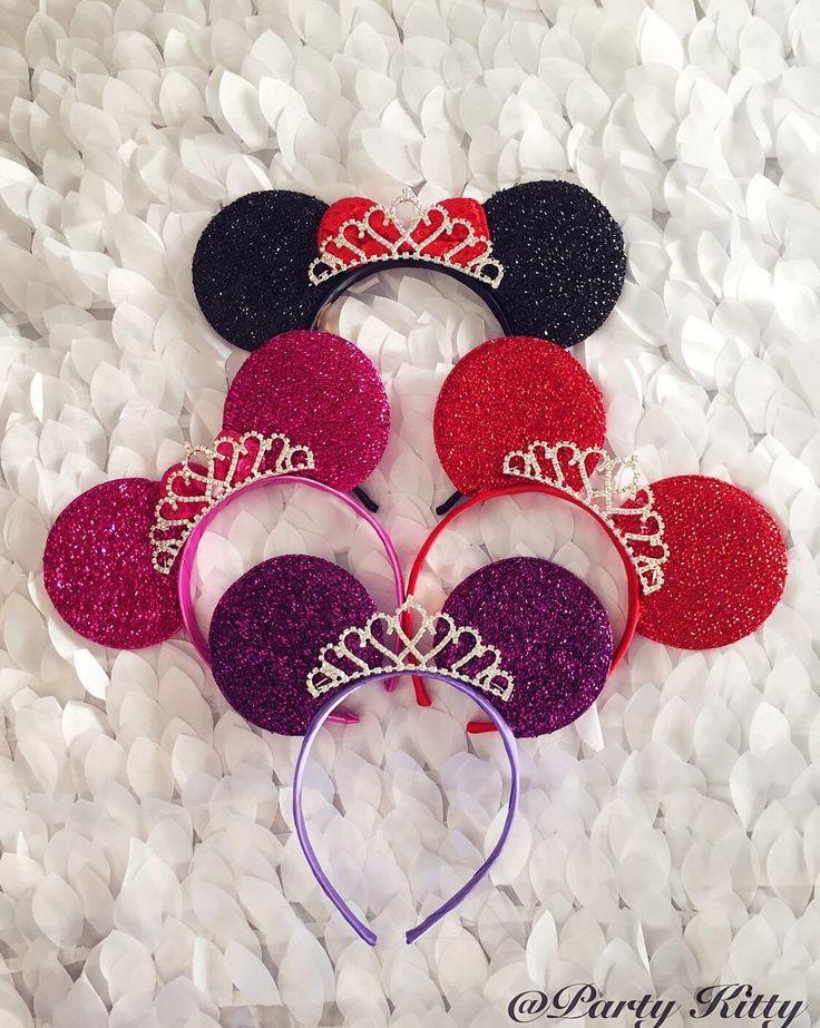 Minnie Mouse Ears w/ Tiara Crown. Perfect for Disneyland Birthday, Bachelorette, Bridal Shower