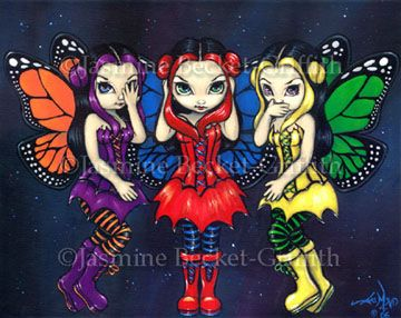 See No Evil, Hear No Evil, Speak No Evil Fairy Picture:  Three Wise Faeries